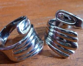 2 Silver Tone Spoon Rings C23
