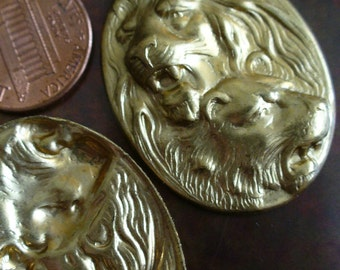 Vintage Brass Stamping, 1960s-70s Oval Lion and Lioness Cameo, Unplated Jewelry Finding or Embellishment Trim, 36x27.5mm, 1 piece (Gbin)