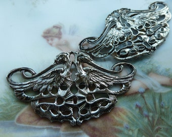 1 Vintage Double Phoenix Mythical Bird MATTE Silver Stamping Finding C22