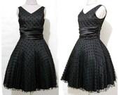 Vintage 1960s Black POLKA DOT Dress
