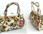 1960s Handbag / Vintage Handbag / Tapestry Bag / Kelly Bag