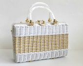 1950s Handbag / Vintage Wicker Handbag / White Handbag