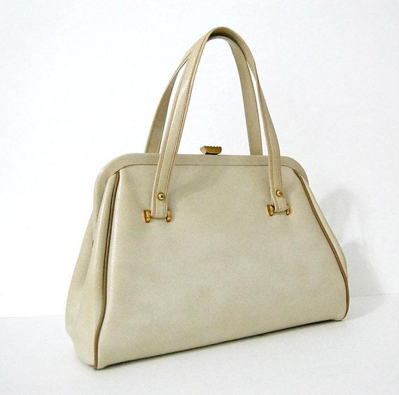 Vintage 1960s Grace Kelly BEIGE LEATHER Handbag