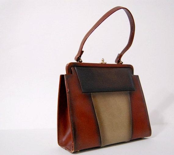 Vintage 1960s PATCHWORK LEATHER Handbag