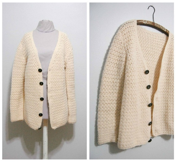 Vintage 1960s Fisherman Knit Sweater Cardigan
