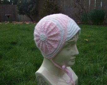Retro Pink Circle Hat - Size 6-12 months - Earmuff pilot cap