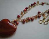 Carnelian, Swarovski, and Pearl Heart Necklace and Earrings - was 55.00