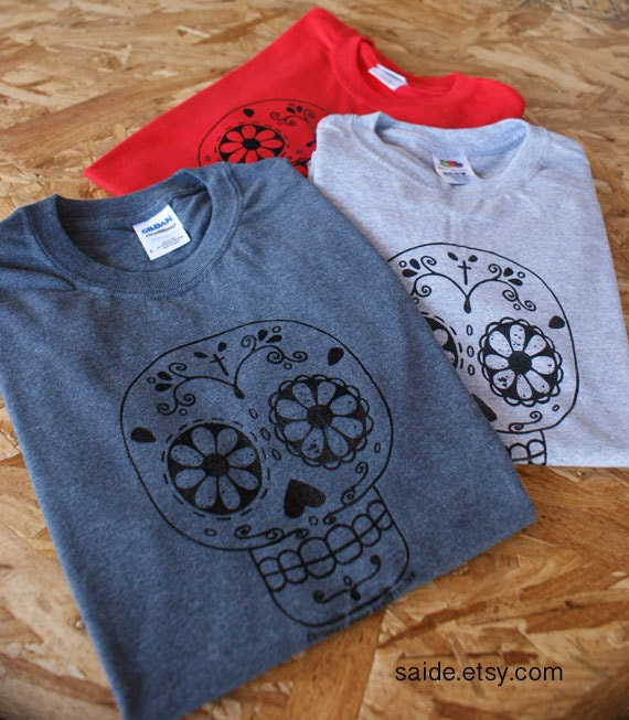 Hand Press Silk Screen Sugar Skull day of the dead Gray Heather T Shirts UNISEX