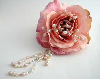 Pink Rose Hairpiece with pearls