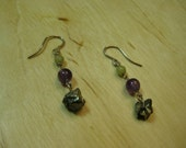 Insouciant Studios Olive Jade Serpentine, Amethyst, and Pyrite Dangle Earrings