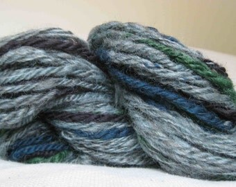 Woolpops Hand Dyed Hand Spun Wool Yarn Manly Woodland Moss colors