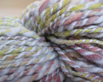 Woolpops Hand Dyed Hand Spun Yarn Blue and Earth Tones Spindle spun