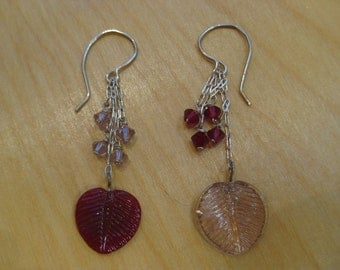 Insouciant Studios Balance Earrings Ruby Red and Lavender