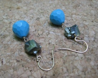 Insouciant Studios Traveler Earrings Turquoise and Glittering Pyrite