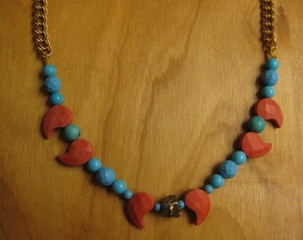 Insouciant Studios Desert Spirit Necklace Chalk Coral Turquoise Pyrite
