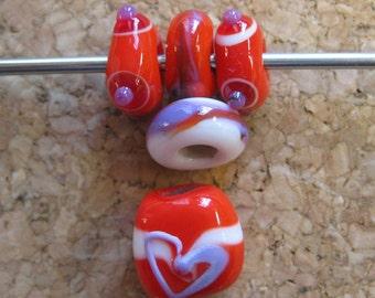 Insouciant Studios Valentine Lampwork Bead suite