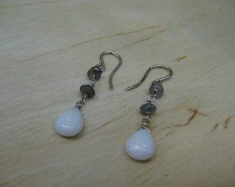 Insouciant Studios Sleet Earrings Labradorite and Snowy Quartz