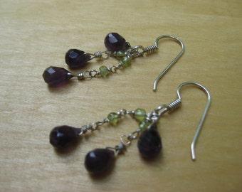 Insouciant Studios Amethyst Cascade Earrings Sterling Silver Amethyst Jade