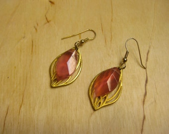 Insouciant Studios Forest Sunset Earrings Raspberry Quartz and Gold Leaves