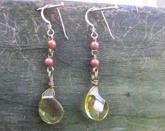 Insouciant Studios Glinting Earrings Citrine and Copper Goldstone Final Clearance