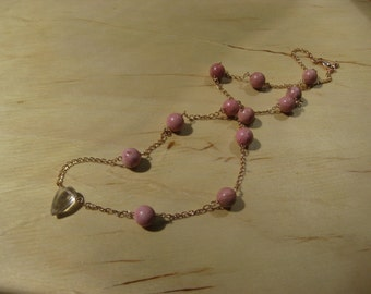 Insouciant Studios Whimsy Necklace Rose Gold Rhodochrosite and Topaz