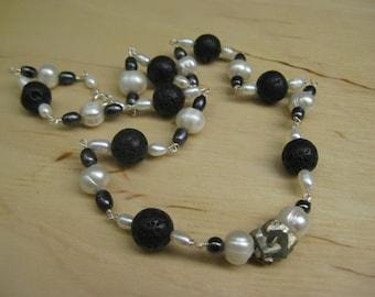 Insouciant Studios Coal Seam Necklace Basalt Pearl Pyrite