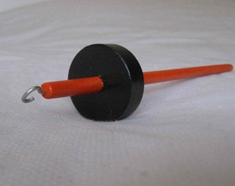 Woolpops Orange and Black Halloween Special Handpainted Top Whorl Drop Spindle