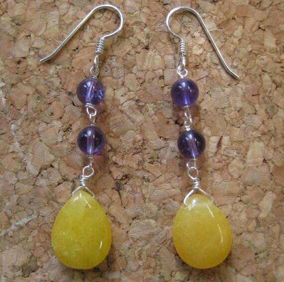 Insouciant Studios Crocus Earrings Amethyst and Jade