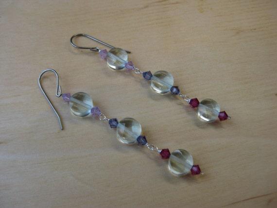 Insouciant Studios Petal Cascade Earrings Sterling Silver Quartz