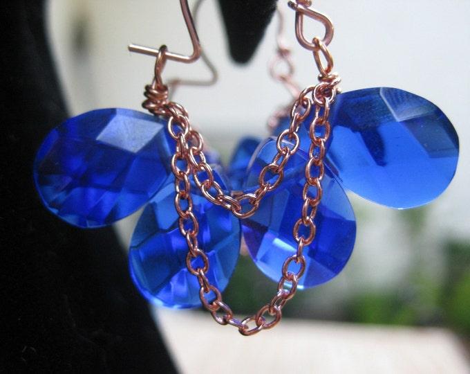 Insouciant Studios Byzantium Collection Copper and Azure Quartz Hoop Earrings