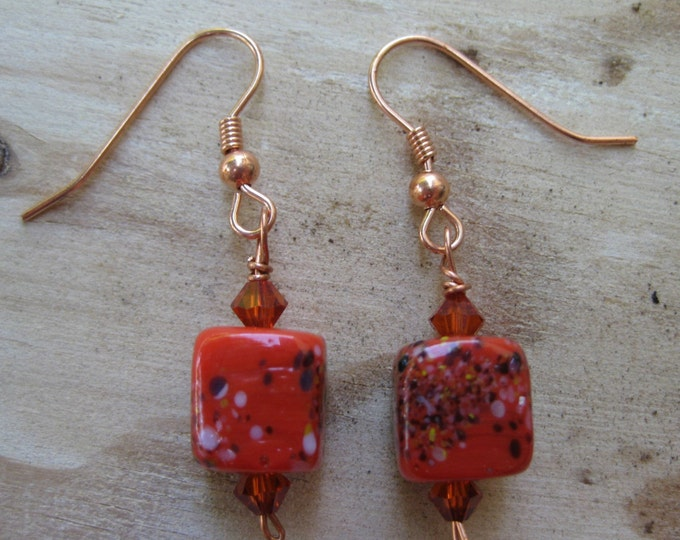 Woolpops Red Frit Stitch Marker and Earring Set