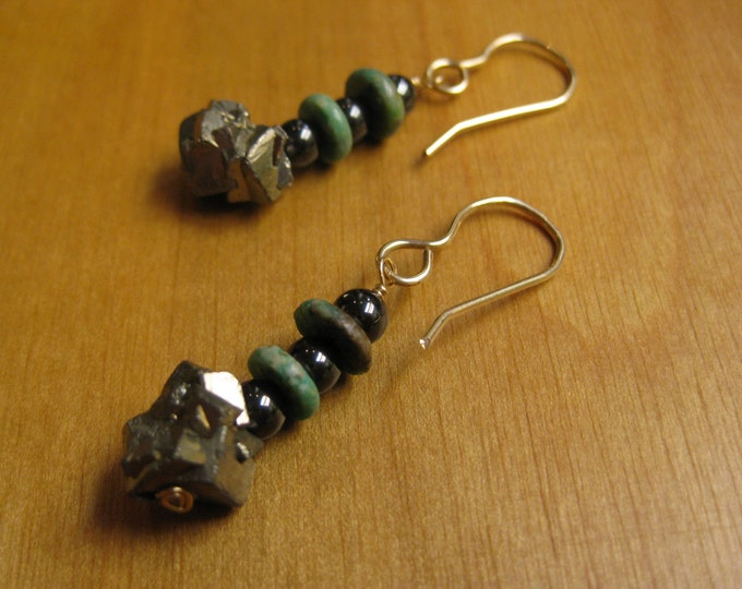 Insouciant Studios Wanderer Earrings Turquoise Pyrite Hematite