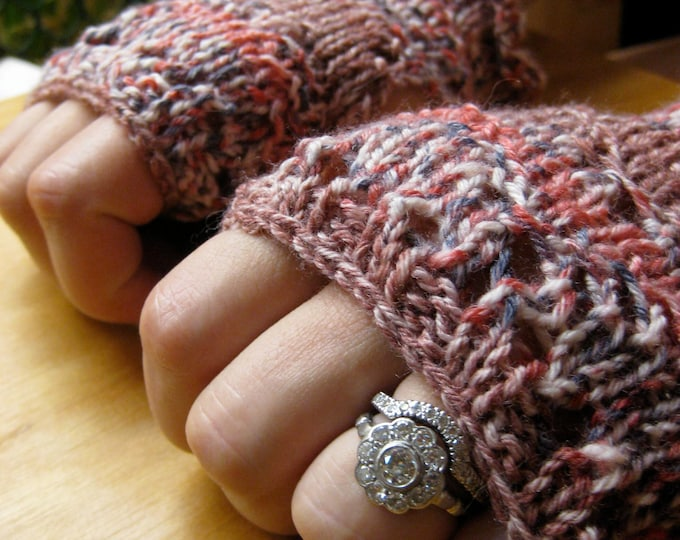 Insouciant Studios Hibiscus Hand Knit Lace Fingerless Mitts