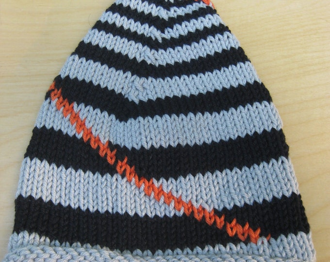 Woolpops Hand Knit Punk Baby Hat Black and Gray