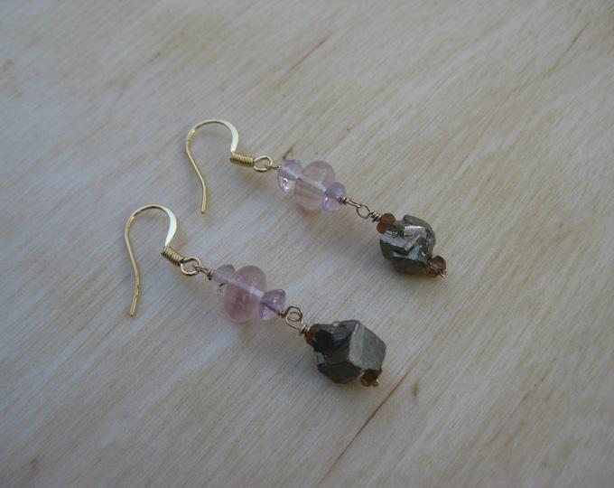 Insouciant Studios Ladylike Earrings Sapphire Pyrite Fluorite and Rose Quartz