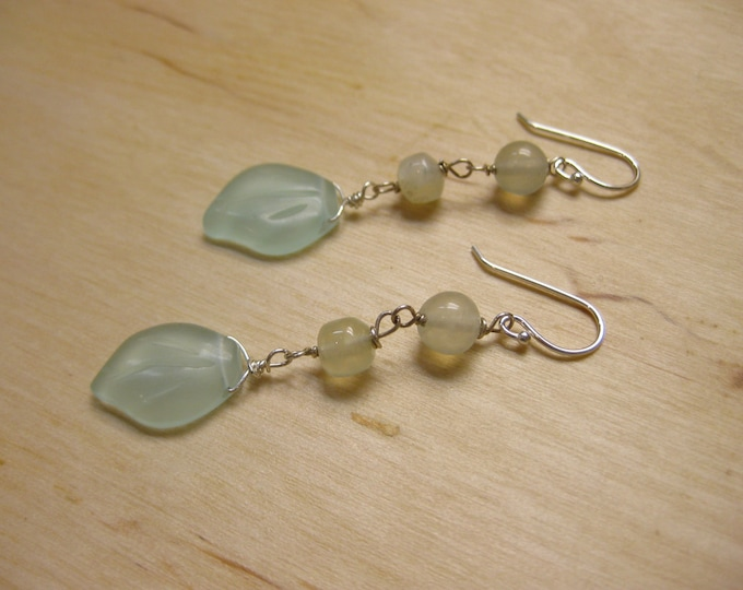 Insouciant Studios Pastel Earrings Prehnite and Chalcedony