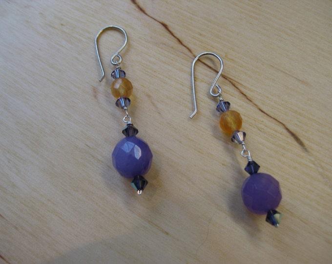 Insouciant Studios Golden Raisin Earrings Amethyst & Carnelian