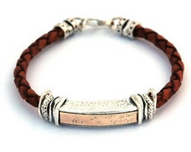 Gold & Silver Shema Yisrael Bracelet in Red