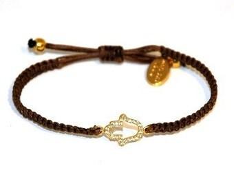 Adjustable CZ Golden Hamsa on Knitted Evil Eye Bracelet for Good Luck