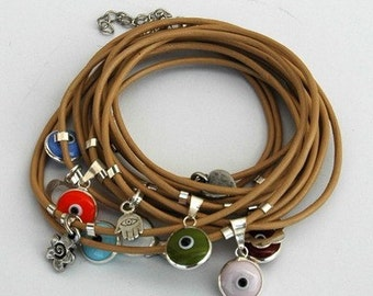 Wrapping Leather Camel Bracelet with Evil Eye Protection Charms