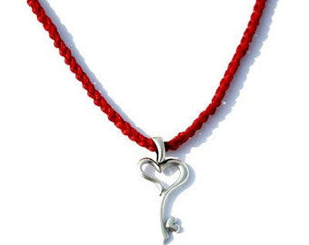 Sterling Silver Heart Key Charm Necklace in Red