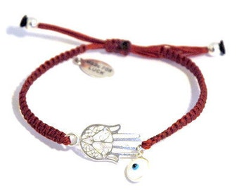 Eastern Silver (925) Hamsa Hand Charm with Glass Evil Eye Charm on Adjustable Red Macrame Bracelet