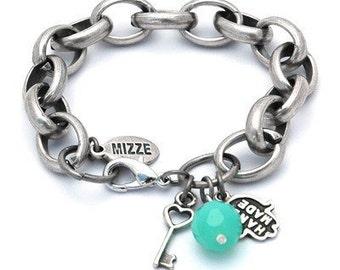 Silver Link Bracelet with Hamsa Hand