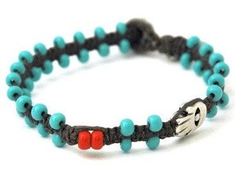 Turquoise Beads & Silver Plated Hamsa Bracelet in Gray