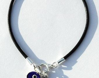 Blue on Leather Evil Eye Protection Bracelet