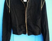SALE 80s Japanese Shoulder Bolero Black Gold Jacket