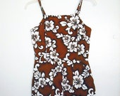 SALE Vintage brown Flowers Hawaiian Romper Playsuit M
