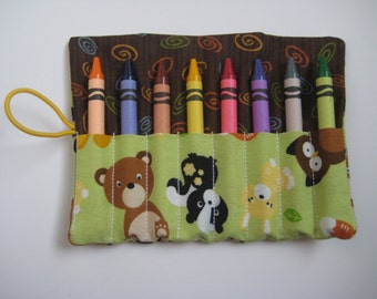 Forest Friends Crayon Roll Includes 8 Crayons