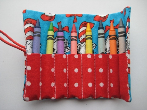 Crayon Roll The Cat in the Hat Includes 8 Crayons