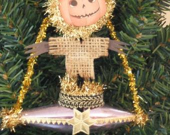 Halloween Dresden Style  Ornament - Pumpkin Ship